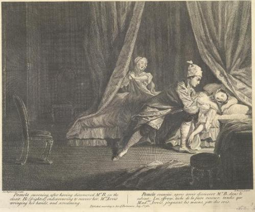 """Pamela swooning after having discovered Mr B in the closet. He (frighted) endeavouring to recover her. Mrs Jervis wringing her hands, and screaming."" From a series of twelve illustrations to Pamela, by Samuel Richardson (1745, 2nd edition)."