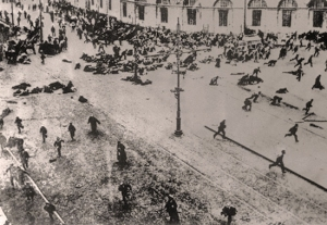 A demonstration on the streets of Petrograd, just after the military have opened fire (1917).