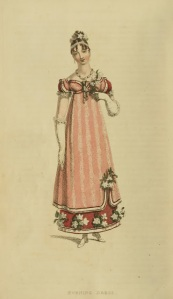 Fashion plate of an evening dress, published in Ackermann's Repository (1815).