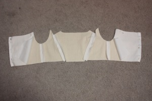 The side back and back pieces sewn in.