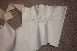 Breast gussets pinned ready for sewing.
