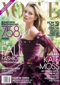 The cover of Vogue magazine, featuring Kate Moss, in September 2011.