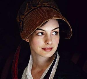 Anne Hathaway as Jane Austen, in Becoming Jane (2007).