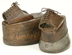 These chopines are dated to 1550, and were initially designed to enable the wearer to keep out of the mud. However, by 1600 the height of the shoes had risen to 20 inches!