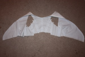 The bodice, sewn around the neckline and turned right way out.