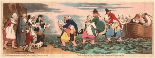 """The Landing of Sir John Bull and his family at Bolougne sur mer"", by James Gillray (1792)"