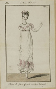 """Robe de Gaze. Garnie en Satin decoupe."" Costume Parisien (1813), in Journal"
