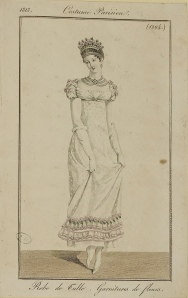 """Robe de Tulle. Garnitures de fleurs."" Costume Parisien (1813), from Journal"