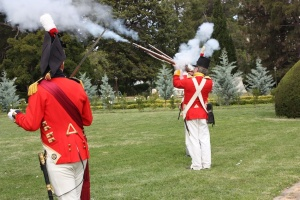 Muskets were notoriously unreliable in hitting targets, so in order to improve their effectiveness as weapons, the company were required to shoot in unison at the command of their leader.