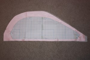 Sleeve pattern piece, showing the increased height and width of sleeve.