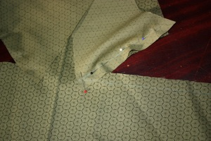 When sewing the side back panel to the back panel, it helps to draw the sewing line in tailors chalk.
