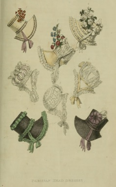 Parisian bonnets from Ackermann's Repository (1817)