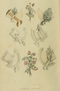 """Parisian Bonnets"" from Ackermann's Repository (1817)"
