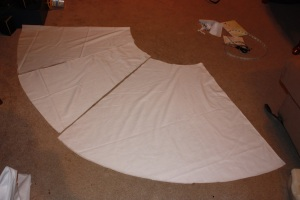 The pieces cut out; (from left to right) front, side, back.