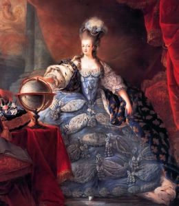 Marie Antoinette, Queen of France, in coronation robes, by Jean-Baptiste Gautier Dagoty (1775).