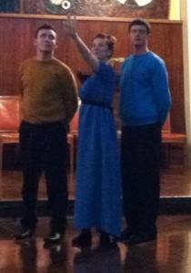 Captain James T. Kirk and Dr Spock, with Miss Lizzie Bennet.