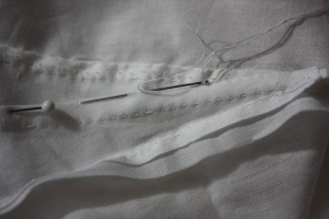 The gore seams being flat felled with a slip stitch.