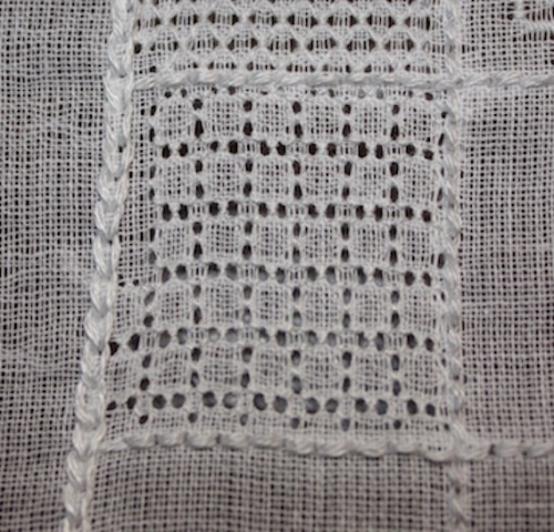 This whole square is worked with ring-backed stitch.
