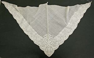 A mid-18th century fichu, embroidered in whitework, from The Metropolitan Museum of Art.