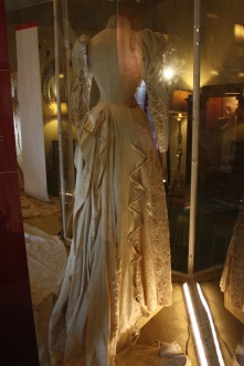 The back view of an 1889 wedding gown.