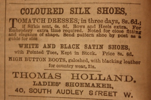 "An advertisement for silk shoes, published in ""The Queen, The Lady's Magazine"", August 2, 1879."