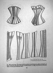 "A late 1880's corset. From Norah Waugh's ""Corsets and Crinolines""."