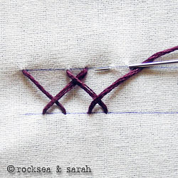 Herringbone stitch. When it is used for shadow work, the stitch is done on the underside with the stitches on the outside appearing like back stitch. Source: Rocksea & Sarah