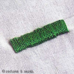 Satin stitch: I found that doing an outline in running stitch was really effective in helping the final result to look good. Source: Rocksea & Sarah.