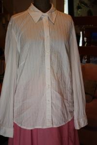 "The shirt I started with; long-sleeved, button-up, with cuffs. Cotton spandex blend with a ""tucked"" texture woven into it."