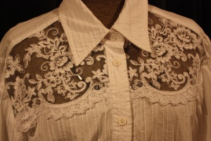 The lace placed in the cut-out section.