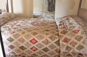 Jane Austen's quilt, on display at Chawton Cottage.