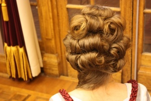 My attempt at Georgian hair. It is very difficult to do yourself, and takes a degree of practise!