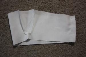 The lining sewn, showing the slash with gusset inserted.