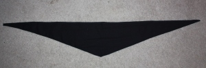 A black neckcloth for a midshipman. The long flat edge is cut on the selvedge (measuring 41 inches), and the depth at the midpoint measures 7.5 inches.