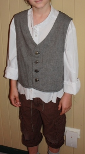 The vest front, shown with the shirt and pants.
