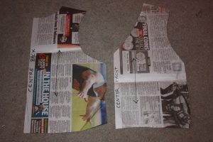 The newspaper pattern I drafted. I have marked the centre front and back.