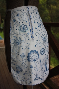 The finished pocket, tied on to my mannequin!