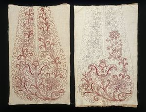An unfinished pair of pockets, at the Victoria and Albert Museum.