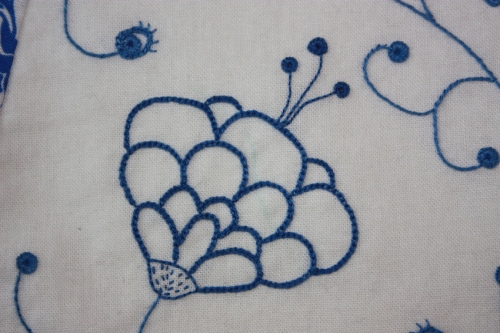 This flower is embroidered with chain stitch...