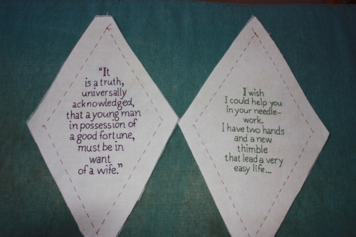 "The first two stitcheries for my quilt. The left one is a quote from ""Pride and Prejudice"", and the right one is taken from one of Jane's letters to her sister."