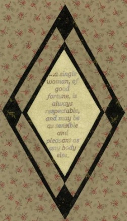 """One of the stitcheries from the """"Jane Austen's Bonnet"""" quilt."""
