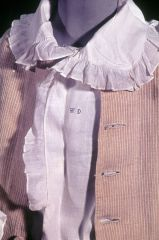 A boy's shirt, with a deep square collar edged with a frill, c. 1770s. From Historic New England.