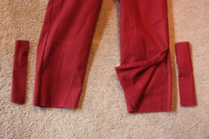 The pant legs, shown with a button placket.