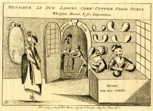Monsieur Le Que Ladies Cork-Cutter from Paris (1777), from Demode.