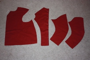 The pattern pieces; from left to right - the front, the back, the undersleeve, the oversleeve.