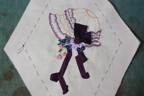 A Purple and beige embroidery