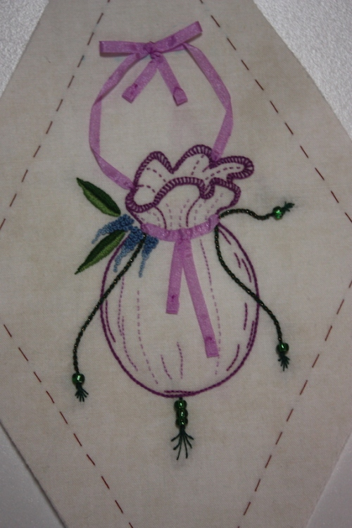 An embroidered reticule