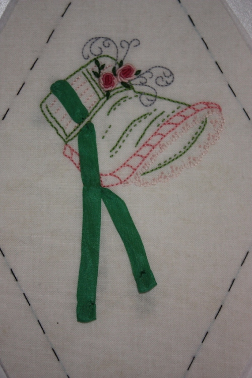 A frilled bonnet embroidery