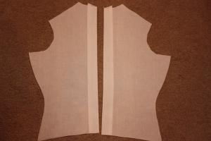 The back panel, with button placket preparation.