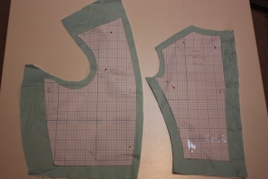 The pattern drafted and then cut out enlarged to fit my measurements.